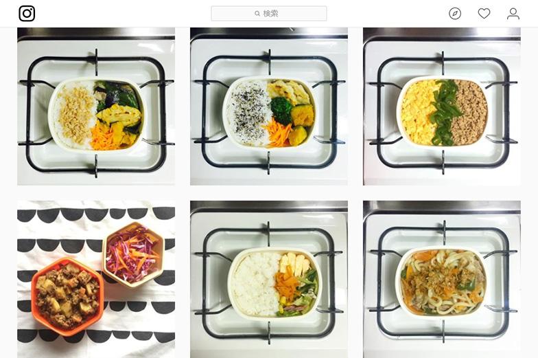 【画像5】Sanaeさんのインスタグラム。一口コンロの上に置いたお弁当箱を毎朝写真に撮り、インスタグラムにアップ。毎日お弁当づくりを続けるモチベーションのひとつになっているとのこと(画像提供/Sanaeさん)