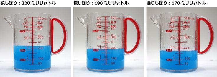 【画像3】雑巾のしぼり方別に、しぼり出せた水の量の比較をしてみた(実験/山本久美子、撮影・協力/SUUMOジャーナル編集部)
