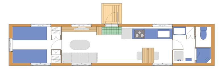 【画像3】1~2人での生活を想定した間取図の例。延べ床面積は28.80m2(8.88坪)(写真提供/アーキビジョン21)