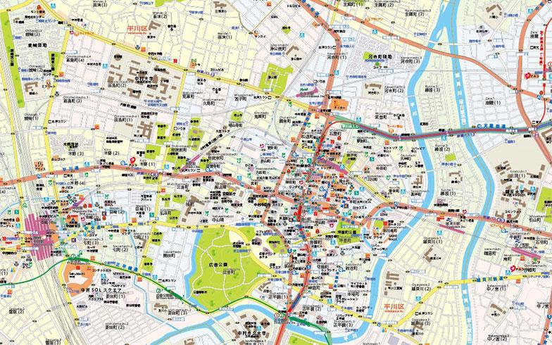 【画像1】そこに暮らす人々の生活の匂いが感じられるような、中村市の地図。現在も街は成長過程にあるという(画像提供/地理人)