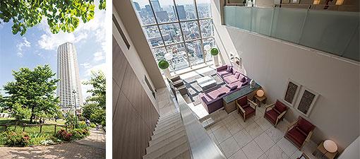 【画像1】(左) 道路を挟んで隣接している「富久さくら公園」からマンションを望む (右) 43階から44階にかけてメゾネット方式で設置された「スカイラウンジ」 (写真撮影/川瀬一絵)