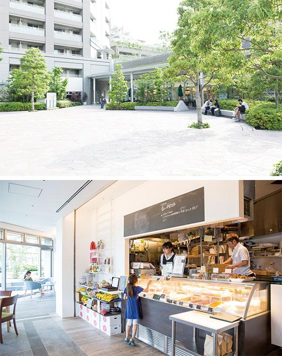 【画像2】(上)建物の2 階部分に広がる「彩華の広場」(下)1階の「グリーンカフェ」では、有機野菜を使った総菜を楽しめるほか、定期的に入居者向けのマルシェを開催 (写真撮影/川瀬一絵)