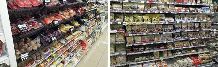 【画像3】野菜と果物は多いときで20種ほど並ぶことも。お惣菜、生鮮食品は一般のコンビニよりも充実しています。オリジナルブランドのセブンプレミアム商品も多種(写真提供/日本総合住生活)
