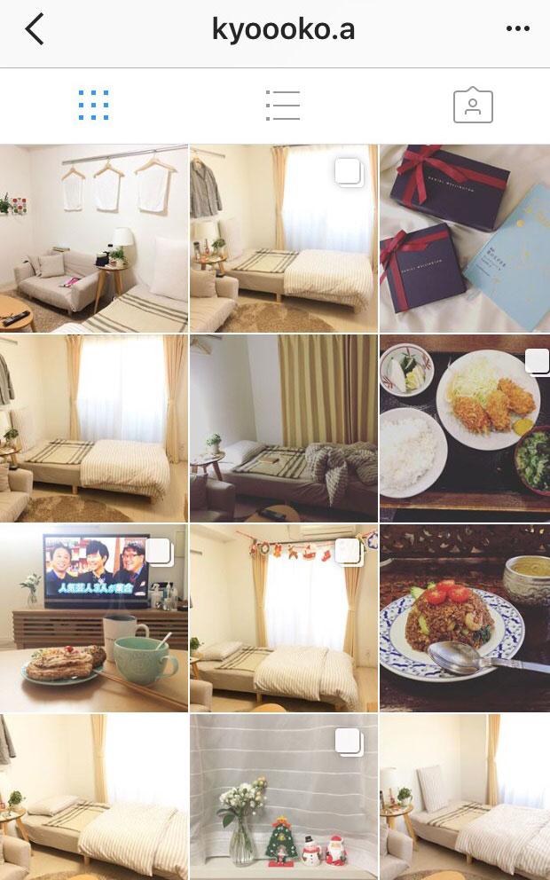 【画像2】ナチュラルなテイストのお部屋を撮影しているkyoooko.aさんのInstagram(画像提供/kyoooko.aさん)