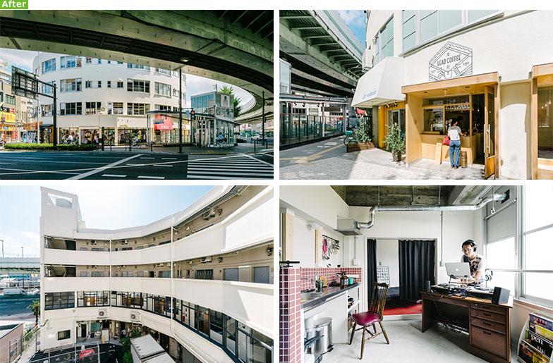 【画像1】阪神高速道の湾曲したフォルムに沿うように扇状にデザインされた外観が目を引くモダニズム建築。1、2階は店舗、3、4階はクリエイター向けのアトリエ兼住居に(写真提供/株式会社アートアンドクラフト)
