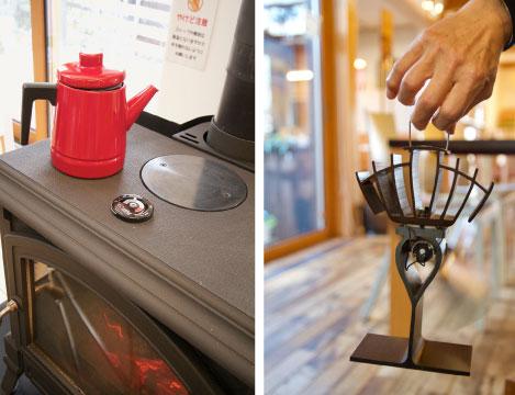 【画像3】左:天板に置いたポットからの蒸気で室内を加湿。右:こちらは薪ストーブの熱を利用して発電し、モーターを回転させる「エコファン」(写真撮影/井村幸治)