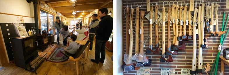 【画像5】左:体験会も仲間ができるきっかけになりそう。右:店内には薪割り用の斧などのツールもたくさんそろっている(写真撮影/井村幸治)