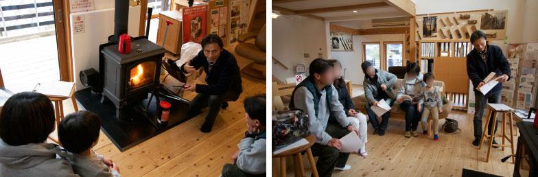 【画像8】左:体験会では着火や薪補給を行いながら注意点を解説。右:「灰の掃除は?」「煙突の高さは?」「屋根の勾配は?」など熱心な質問が飛び交う(写真撮影/井村幸治)