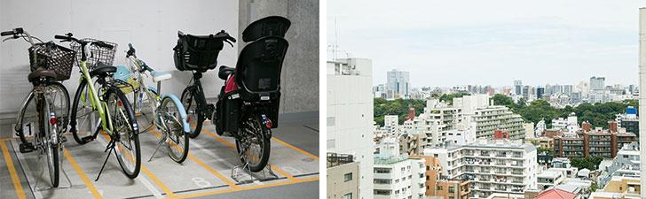 【画像1】(左) バイク10台分のスペースを自転車14台分に転用。新たに黄色いテープで区分けした。上下段の駐輪ラックもあるが、上げ下ろしが面倒な上段の使用者をアンケートで募り、電動アシスト自転車利用者の負荷を軽減 (右) 窓からは小石川植物園などが見える (写真撮影/中垣美沙)