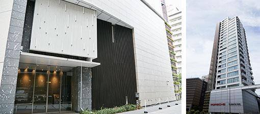 【画像4】(左)物件エントランス(右)春日通りから見た外観(写真撮影/中垣美沙)