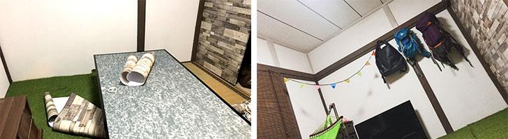 【画像4】写真左:和室のふすまにはレンガ調のシートを貼っている。写真右:和室ならではの鴨井には、穴をあけずに使用できる100均の鴨井フックを活用(画像提供/カタオカマナミさん)