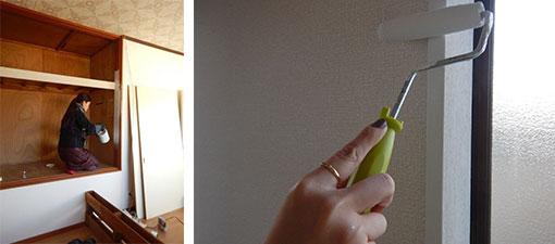 【画像5】写真左:扉を外した押入れの木枠をペンキで塗る作業。写真右:色ムラなく塗るには、刷毛よりも100円ショップで購入したペンキローラーが便利だった(写真撮影/カタオカマナミさん)