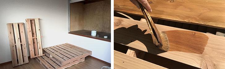 【画像7】写真左:扉を外した押入れスペースを有効活用して、木製パレットを組み、ベッドを製作する。写真右:今回は木目を際立たせるために、表面にオイルステインを塗装する作業を行った(画像提供/カタオカマナミさん)