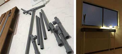 【画像8】写真左:塩ビパイプは、のこぎりでカットして、「継手」という材料でジョイントして使う。写真右:出来上がった机(写真提供/カタオカマナミさん)
