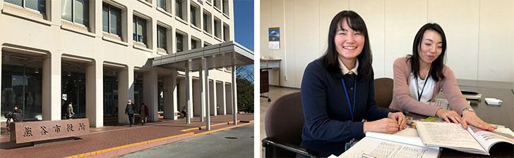 【画像1】写真左:熊谷市役所。写真右:熊谷市総合政策部 企画課の松本里実さん(左)、市原倫子さん(右)(写真撮影/宮崎林太郎)