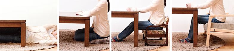 【画像2】ピタ高こたつ。継脚で4段階に高さを調節できるので、床座にも座椅子にも高めの座椅子にも合います(画像提供/株式会社山善)