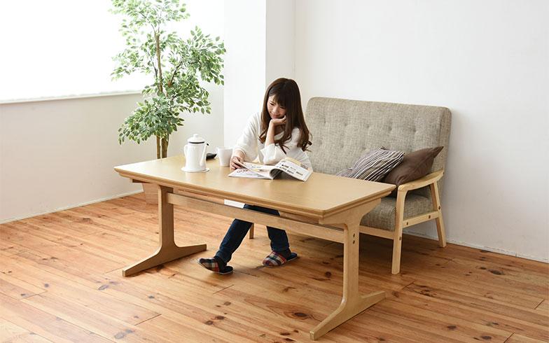 【画像6】高さ60cmのこたつテーブル。ダイニングテーブルとしてもリビングテーブルとしても使えるそう(画像提供/山善)