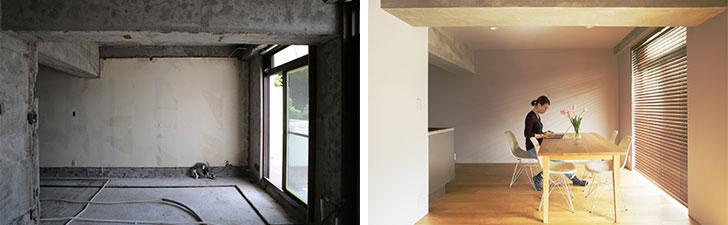 【画像1】NENGOが手掛けた、中古リノベーションの事例。写真左:解体後。写真右:リノベーション後(画像提供/株式会社NENGO)