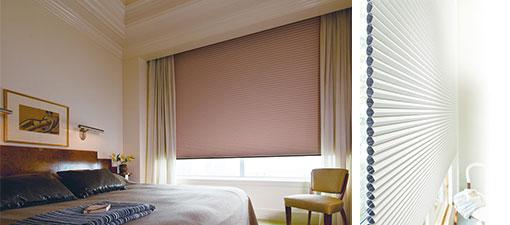【画像1】写真左:ニチベイのハニカムスクリーン「レフィーナ45シングルスタイル」を使った部屋。写真右:ハニカムスクリーンの断面(画像提供/株式会社ニチベイ)