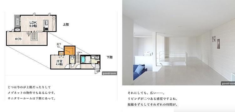 【画像12】写真左:物件の間取図。下の階にバス・トイレなどの生活スペースがある(画像提供/物件ファン) 写真右:ロフトへ上がってみた写真。LDKとは同じ空間だが視線が重ならず、誰かが同じ部屋の中にいても、ちょうどいい距離感を感じながら過ごせる(画像提供/物件ファン)