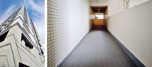 【画像1】(左)外壁のタイルは、浮き上がってしまっていた箇所だけ大規模修繕時に交換(右)共用廊下には長尺の樹脂製シートが使われているが、劣化が少なかったため継続して使用中(写真撮影/柴田ひろあき)