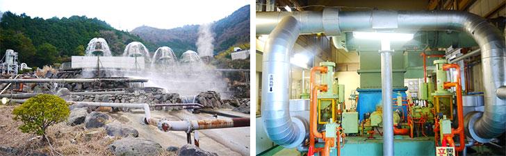 【画像4】杉乃井地熱発電所。24時間体制で電力を送電でき、非常時にも対応できるのが魅力。施設は日本工業技術庁が地熱発電試験を行った跡地を利用(写真撮影/フルカワカイ)