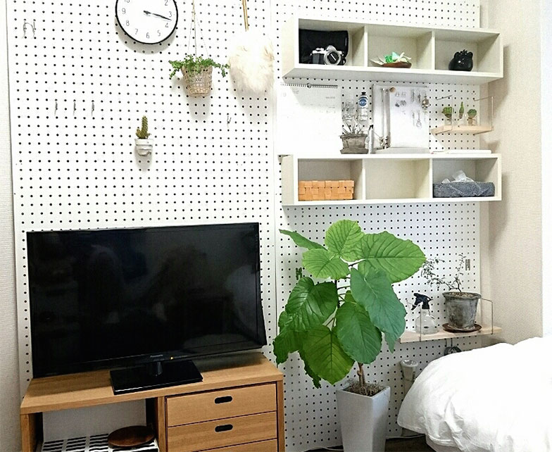 【画像3】収納はもちろん、好きなインテリアを飾ることもできる。狭いお部屋にとって壁は貴重なスペース(画像提供/komugiさん)