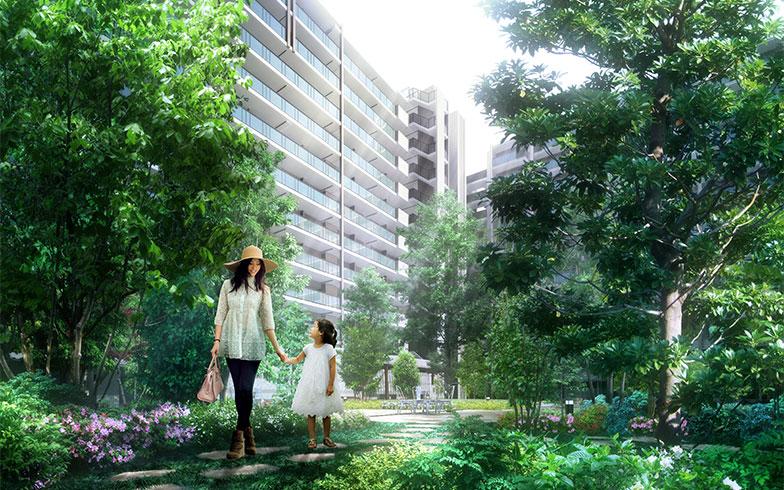 【画像2】敷地内にはひろびろとした場所があり、外遊びもできる(画像提供/野村不動産株式会社)