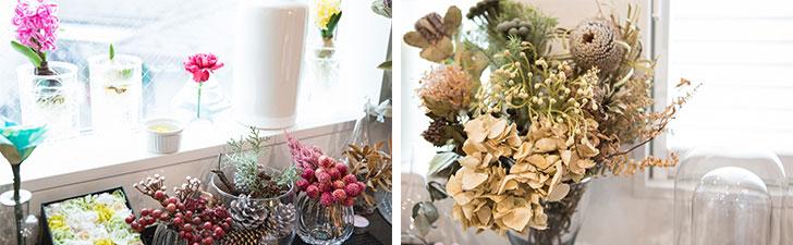 キッチンの窓辺に飾られた花。「母がいつも花を欠かさない人だったので、私も自然とそうなりました。そして、娘もお花屋さんが好きですね」(写真撮影/片山貴博)