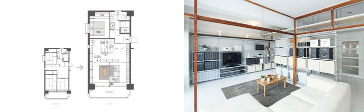 写真左:Plan01「LDKをゆるやかに仕切って広々と使う。」は、自由度の高い空間設計。写真右:リノベーション前から残されている柱がアクセントに。「団地」のもつ味わいを残すのが、同プロジェクトの特徴だ(画像提供/MUJI HOUSE)※現在は募集終了