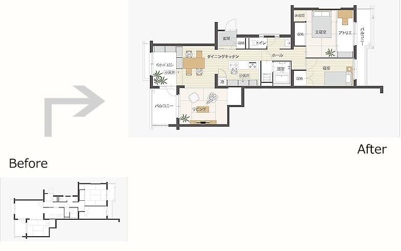玄関が物件の中心、左右にそれぞれリビングと寝室がある横長の間取り(画像提供/MUJI HOUSE)