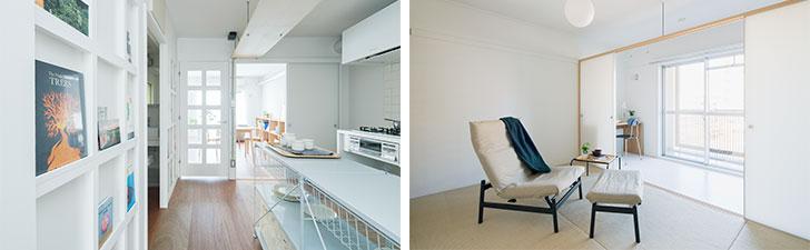 写真左:殺風景な壁を彩ってくれるお気に入りのアート。「壁」というデメリットが物件の魅力に変わった。写真右:主寝室の奥にあるアトリエスペース。趣味や勉強など、一人で落ち着いて過ごせるスペースも確保できる(画像提供/MUJI HOUSE)