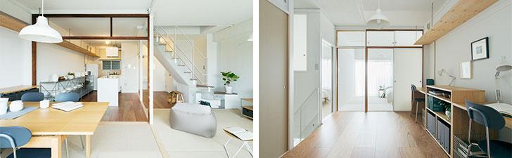 写真左:リビングから玄関方向へ。空間を柱や床材で緩やかに区切り、スペースを分けている。写真右:上階のワークスペース。半透明ふすまで豊かな光が差し込む(画像提供/MUJI HOUSE)