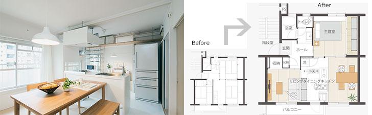 写真左:3月に募集開始予定の「Re+026 明るいLDKの中心に対面キッチン。」。光をいっぱいにとり入れるLDKスペースが、生活の中心になりそう。写真右:同プランの間取り。仕切りをできるだけ取り払い、開放的な空間に(画像提供/MUJI HOUSE)