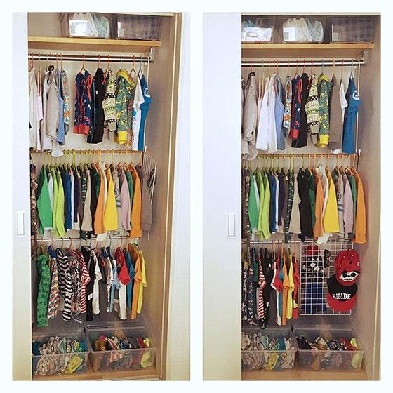 クローゼット内の収納を3段に増やす便利ワザ。子どもの服を畳む手間を削減し、衣替えもスムーズに(画像提供/taitaiさん)