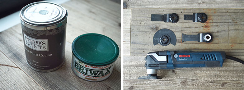 壁を塗った塗料とパッチワークウォールの木材に塗ったワックス。右は最近購入したマルチツール(写真提供/田中さやかさん)