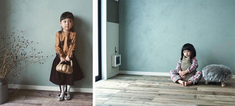 とてもフォトジェニックな長女・こまちゃん。塗りムラのあるグリーンカラーの壁が自然光を受けて独特の表情を浮かべています(写真提供/田中さやかさん)