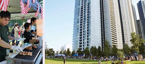 (左)昨年の秋祭りの様子。近隣のカフェ、レストランからの出店もある(右)こちらも秋祭り。場所は物件隣の港区立港南緑水公園(写真撮影/中垣美沙)