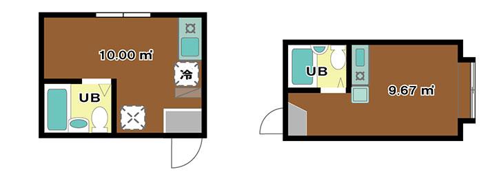 取材の前情報として入手した激狭ワンルームの間取図。Naotoさんの部屋《左》、Emiさんの部屋《右》(画像提供/株式会社城南コミュニティ)