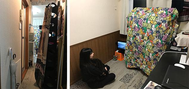 ラックが置かれた廊下は人ひとり通るのがやっと《左》。2人向かい合うだけでも狭いのに、「以前3人の友人が泊まりに来て、4人で川の字になって寝ました」と笑うEmiさん。おそるべし《右》(写真撮影/宮崎 林太郎)