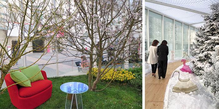 春のゾーンには桜が咲き、冬のゾーンではヒマラヤ杉に雪が積もる。秋は「霧のミラノ」の情景だったが……うまく写真を撮れなかった!23種類の樹木や植物をイタリア家具と共に展示(写真撮影/藤井繁子)