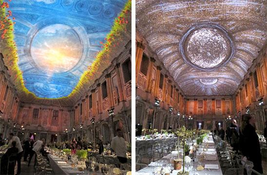 素晴らしいクラッシックな大広間の天井に繰り広げられたのは、四季をテーマにしたプロジェクションマッピング。「Spettacolo(スペクタクル)!」(写真撮影/藤井繁子)
