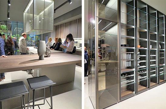 Dada社デザインの新作ガラス・キャビネット。ファッションブランド『アルマーニ』のキッチンもDada社製だが、今回新作は無かった(写真撮影/藤井繁子)