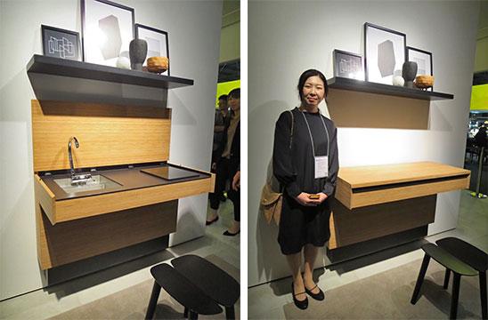 『AC01』受賞者のデザイン事務所YutoRieの伊藤優理恵さん。「テーブルにもなるキッチンカウンターは高さが調節でき、車椅子でも利用できるデザインです」(写真撮影/藤井繁子)