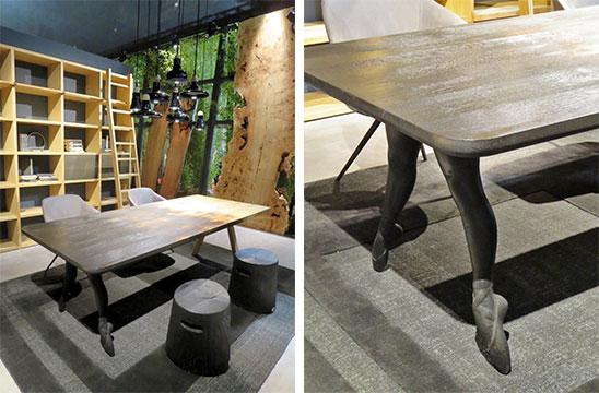 テーブルの脚が、バレリーナの足!? Fabio Novembre(ファビオ・ノベンブレ)デザイン@Riva1920(写真撮影/藤井繁子)