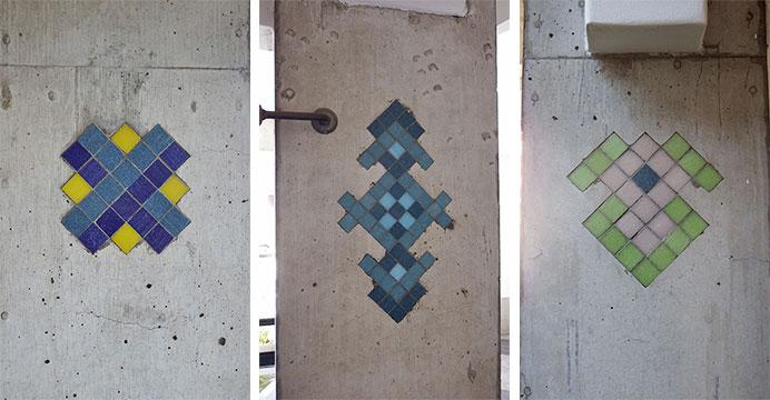 柱に埋め込まれたモザイクガラスはイタリア製。一つひとつデザインが異なる(写真撮影/織田孝一)