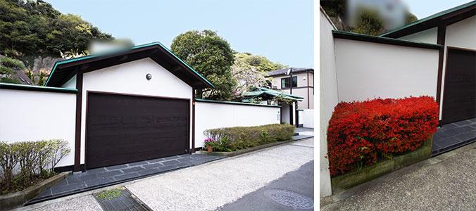 茶色はガレージの折戸、今は閉じて中をギャラリーにリモデル。植栽のドウダンツツジは秋に紅葉して右写真のように鮮やかになる(写真撮影/(左)片山貴博・(右)Sさん)