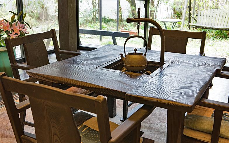 テーブルは囲炉裏(いろり)も備え付けられ、冬に使う鉄瓶をつるしてみてくださった(写真撮影/片山貴博)