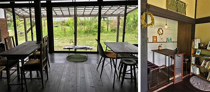 壁の漆喰塗から床の張り替え&自然塗料による塗装、近隣の古道具店などから手に入れたテーブルや椅子をカスタマイズ。Kさん夫妻が営む古民家カフェ「コーヒーくろねこ舎」の内装はすべてDIYでこつこつつくり上げられたもの。のんびりした風景と調和する優しい空間だ(写真撮影/山口俊介)
