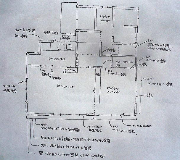 最初につくった手描きのリノベーションの設計図 (写真提供/中原健二氏)